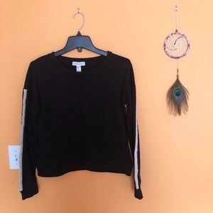 Forever 21 Black Sweatshirt with Pearls